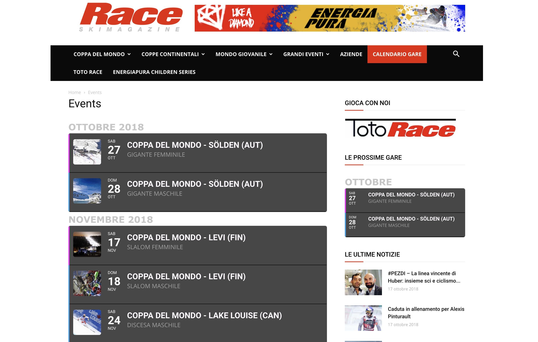 Calendario Coppa Del Mondo Di Sci.Novita Race Le Gare Piu Importanti Racchiuse In Un Unico